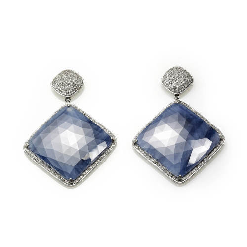 Rough Blue Sapphire Earrings