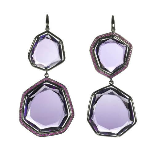 Amethyst & Rubies Earrings