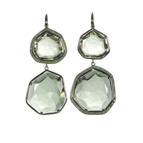 Green Amethyst & Green Diamonds Earrings