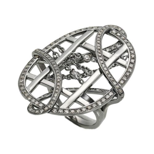 Grey Moonstone & Diamonds Ring