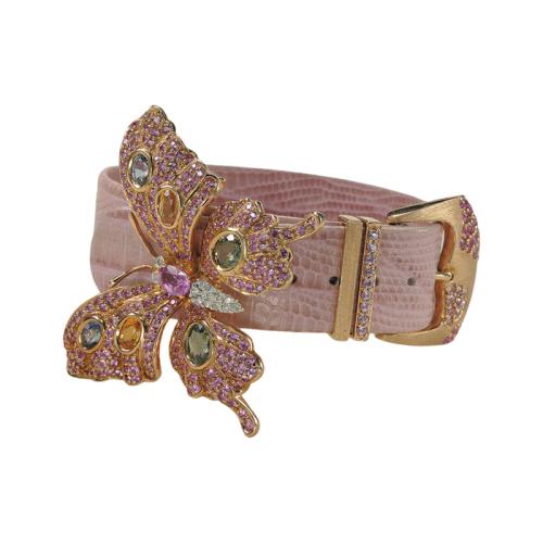 Pink Gold Bracelet with Natural Leazart Leather