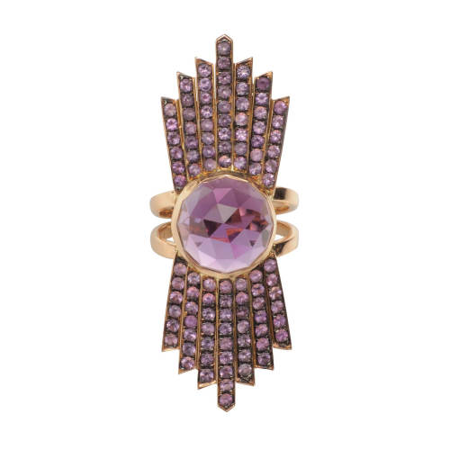Pink Gold Ring with Amethysts