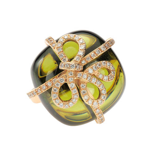 Pink Gold Ring with Peridot Quartz & Diamonds