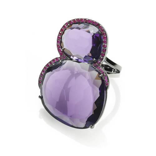 Violet Amethyst & Rubies Ring