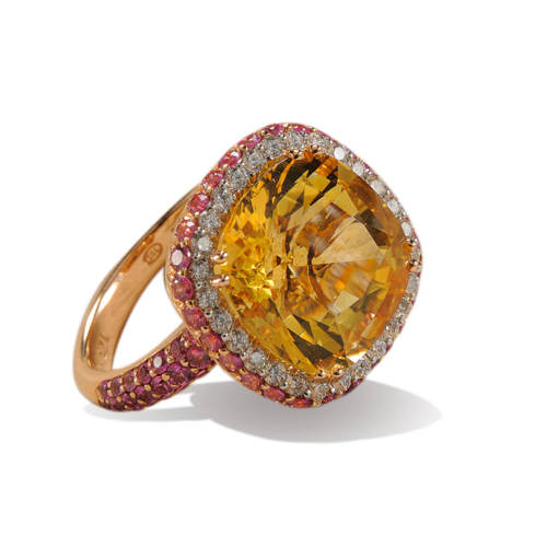 Pink Gold Ring with Yellow Citrine, Sapphires & Diamonds