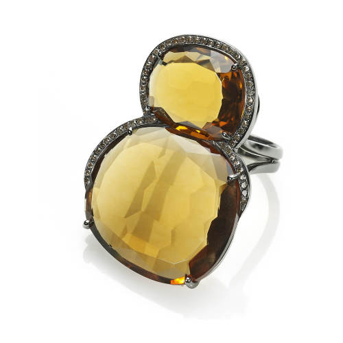 Citrine Quartz & Cognac Diamonds Ring