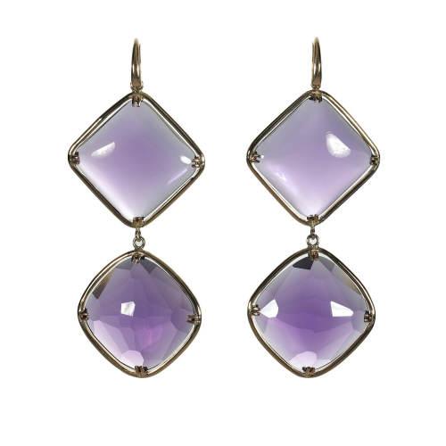 Amethyst & Natural Rubies Earrings