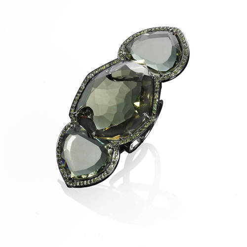 Green Amethyst & Green Diamonds Ring