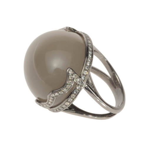 Grey Moonstone Gold Ring