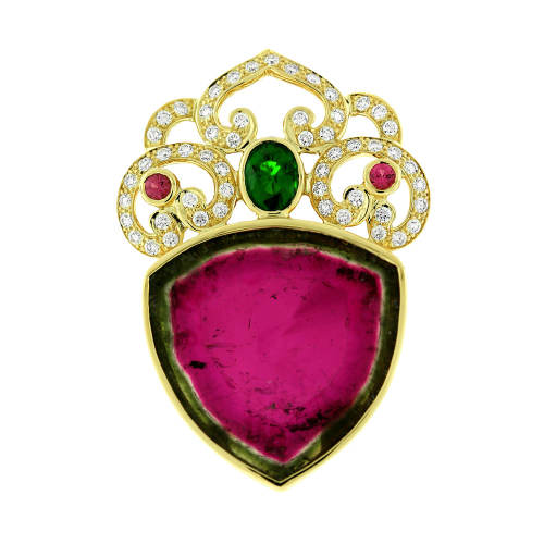 Tourmaline, Tsavorite & Diamond Pendant