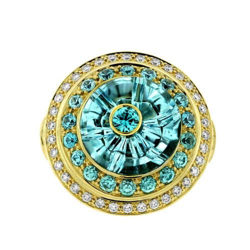 Aquamarine, Blue Zircon & Diamond Ring