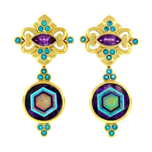 Earrings with Intarsia, Apatite & Amethyst