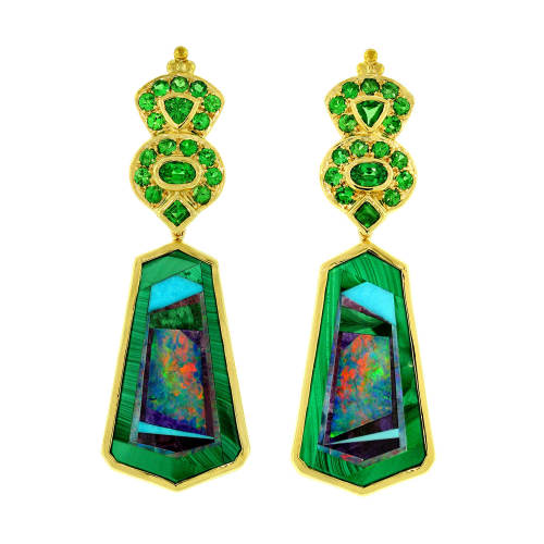 Intarsia & Tsavorite Earrings