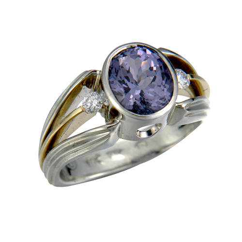 Ring with Purple Spinel & Diamonds