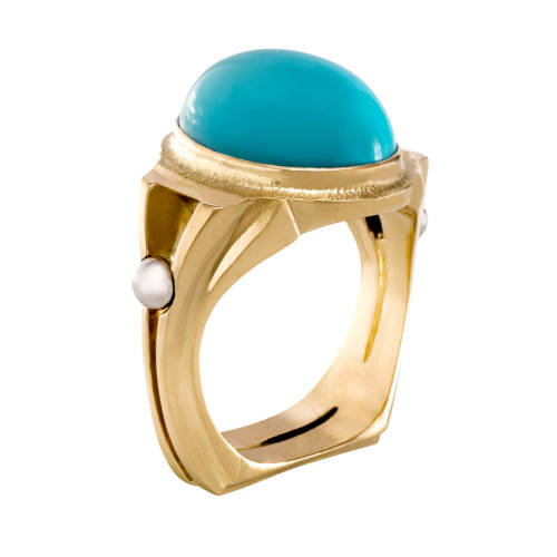 Ring with Persian Turquoise Cabochon