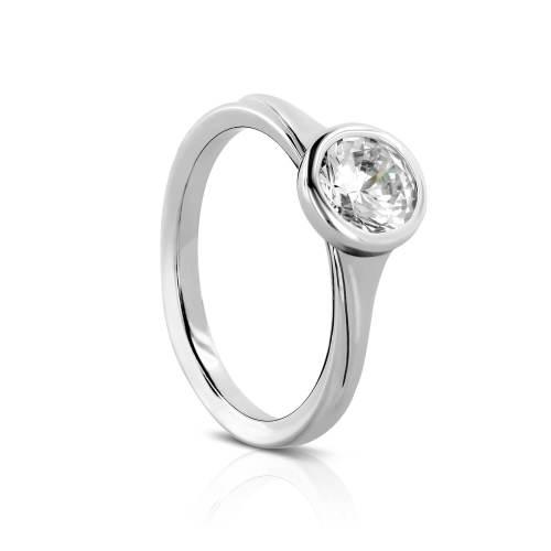 Full Bezel Semi-Mount Engagement Ring