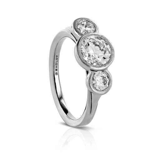 Triple Bezel Semi-Mount Engagement Ring