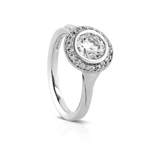Bezel Halo Semi-Mount Engagement Ring