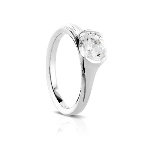 Sleek Half Bezel Semi-Mount Engagement Ring
