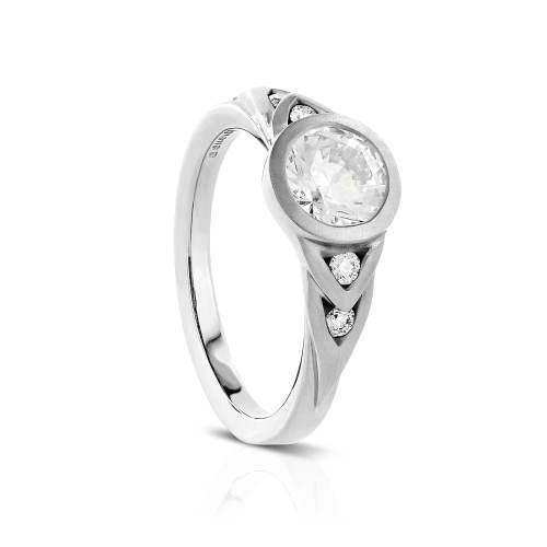 """Tapered """"V"""" Semi-Mount Diamond Engagement Ring"""