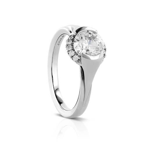 Semi-Bezel with Peekaboo Halo Engagement Ring