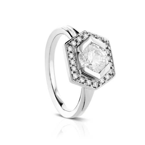 Geometric Semi-Bezel Halo Engagement Ring
