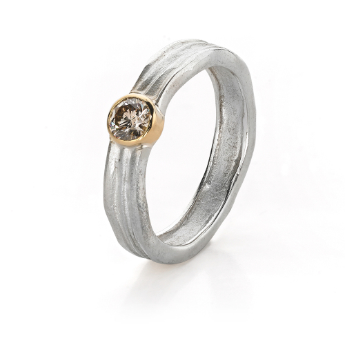 Waterfall Ring with Center Diamond