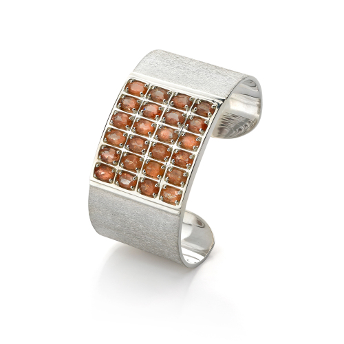 Geometric Cuff with Oval Sunstones