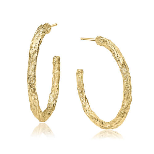 Gold Banyan Tree Large Hoop Earrings