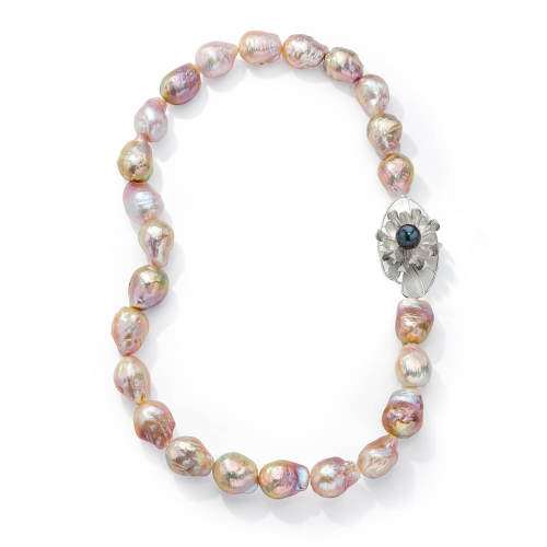 Pearl Necklace with Lily Pad Clasp
