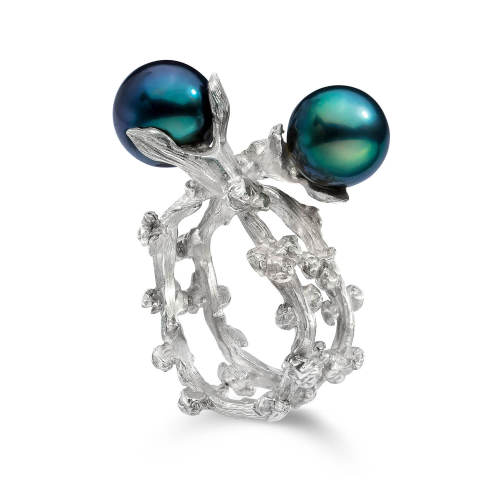 Palm Berries Ring with Pearls