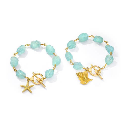Aquamarine Bracelet with Gold Clasp