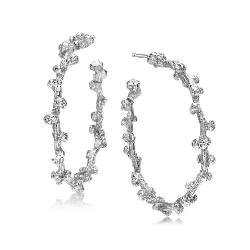 Silver Palm Berries Large Hoop Earrings