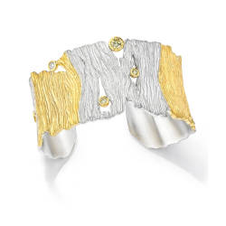 ljd-designs-85-S-143-cuff-18-kt-yellow-gold-sterling-silver-diamond