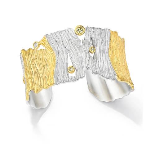 Gold and Silver Seagrass Cuff