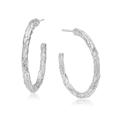 Silver Banyan Tree Large Hoop Earrings