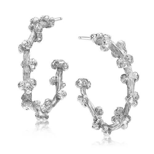 Silver Palm Berries Small Hoop Earrings