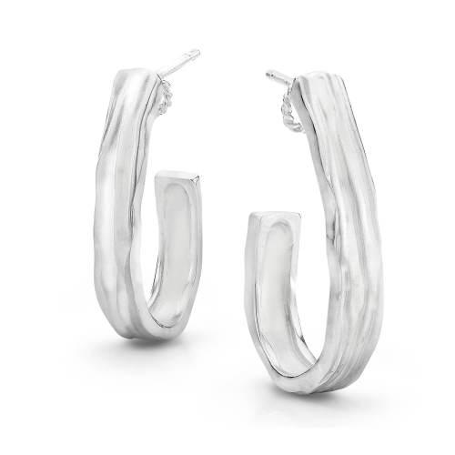 Silver Waterfall J Hoop Earrings