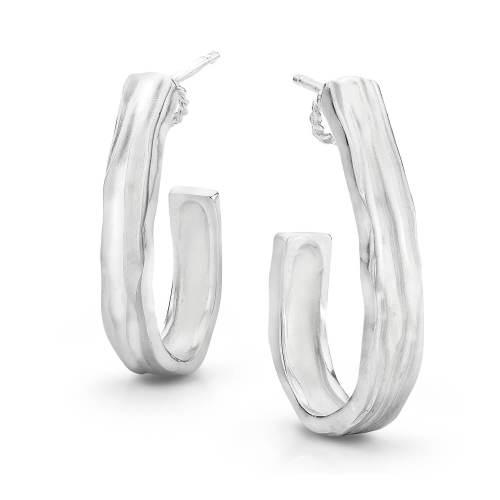 Gold Waterfall J Hoop Earrings