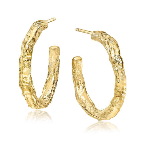 Gold Banyan Tree Small Hoop Earrings