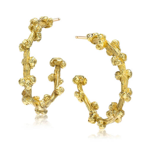 Gold Palm Berries Small Hoop Earrings
