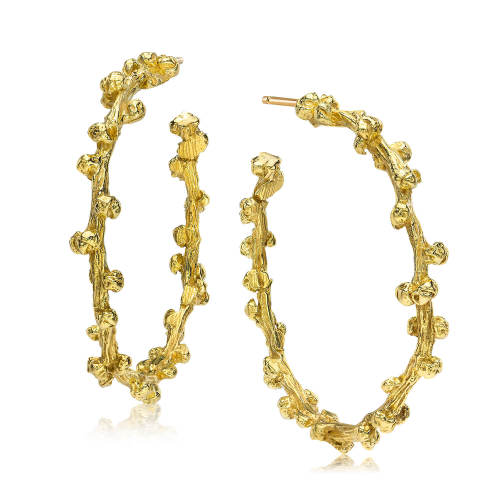 Gold Palm Berries Large Hoop Earrings