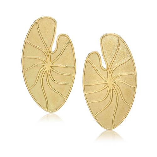 Gold Lily Pad Earrings