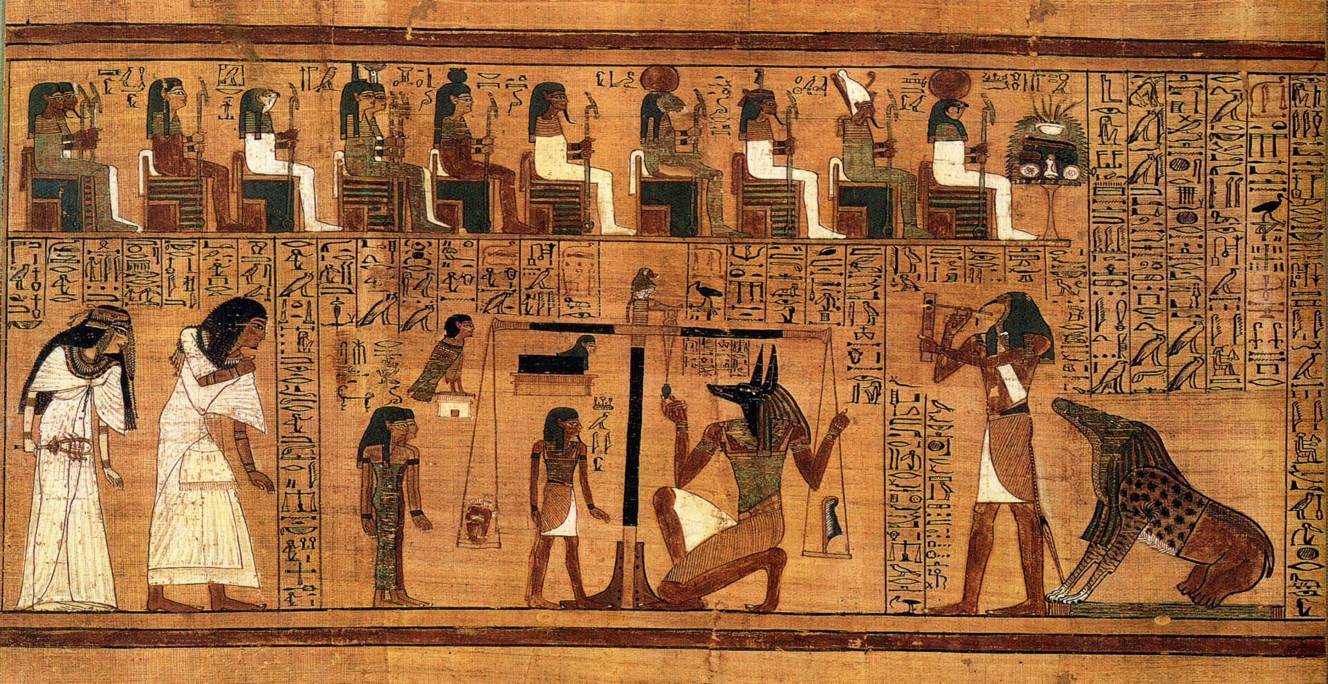 "Weighing of the Heart Book of the Dead written on papyrus showing the ""Weighing of the Heart"" in the Duat using the feather of Maat as the measure in balance"