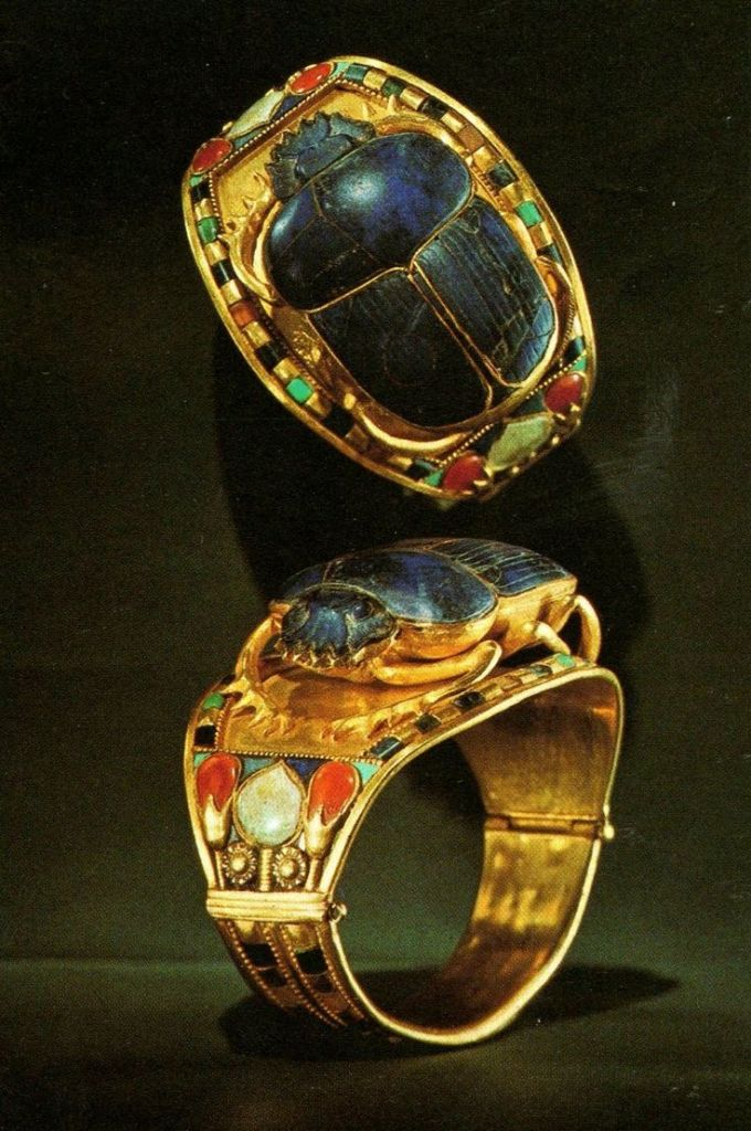 Bracelets found iGold Bangle with Openwork Scarab Encrusted with Lapis Lazuli, Tutankhamun, The Egyptian Museum, Cairo