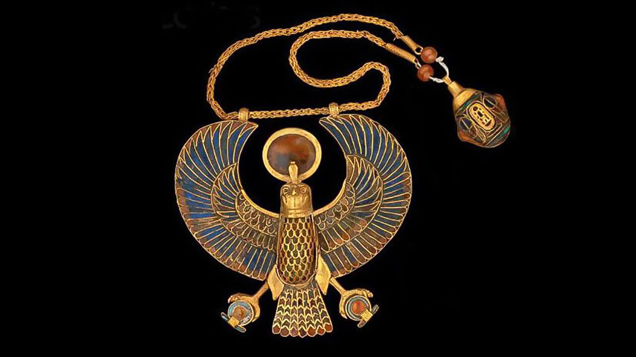 Necklace with falcon pendant, Tutankhamun, The Egyptian Museum, Cairo