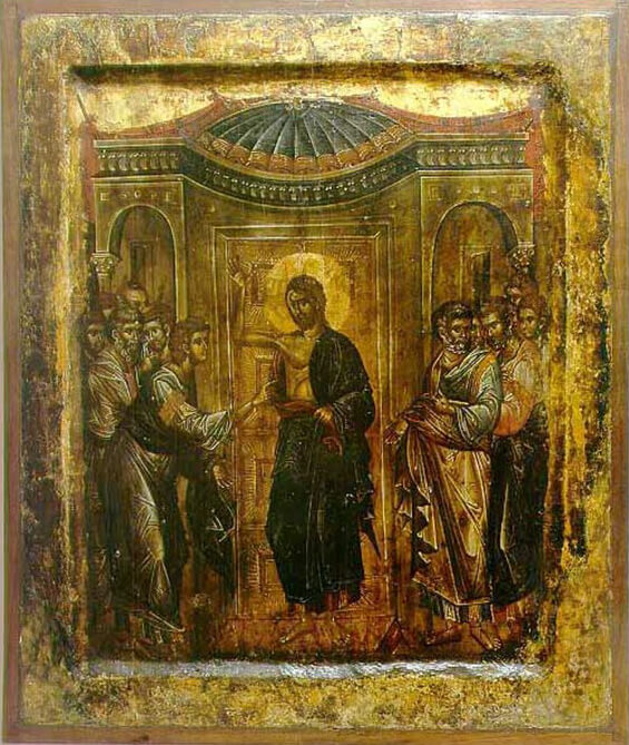 Fig. 7 - Icon From the Church of the Mother of God Peribleptos (St. Clement's), Ohrid, Doubting Thomas, Michael and Eutychios 1295-1317