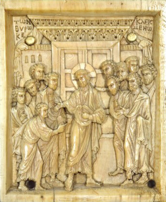 Fig. 9 - Ivory Increduilty of Thomas (Mid 10th Centrury), Byzantine Collection, Dumbarton Oaks Museum, BZ.1937.7