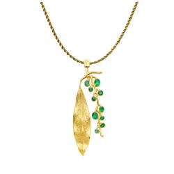 jaime-moreno-C55-jardin-pendant-18kt-gold-emeralds-oleander-leaf