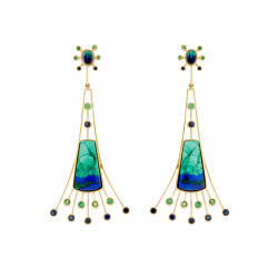 jaime-moreno-P23-sevilla-earrings-18kt-gold--azurite-malachite-sapphires-tsavorites
